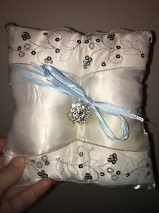 White Ring Bearer pillow / With Silver Accents : excellent condition/ Used once