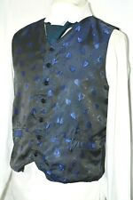 Mens azul marino dos bolsillos patrón de la hoja Chaleco Chaleco Boda inteligente a medida 42