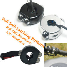 Full CNC Motorcycle Push Latch Switch Handlebar 3 Self-locking Lacthing Buttons