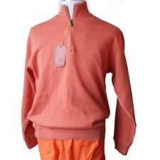 Tommy Bahama Men Quarter Zip Cotton Sweater Size S Orange New with Tag