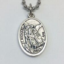 St Michael Archangel Guardian Angel Necklace 24 inch  Stainless Steel Ball Chain