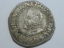 1596 PHILIP II 1/2 REAL COB HALF CROAT BARCELONA SPANISH SPAIN SILVER