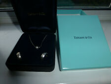 Tiffany & Co. 18K White Gold Streamerica Diamond Hoop Earrings and Necklace