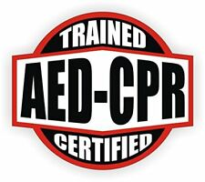 """AED-CPR Trained Certified(2 Pack)Hard Hat Printed Sticker(size: 2"""" color:R/B/W)"""