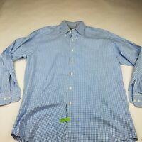 Men's Peter Millar Blue Plaid Long Sleeve Button Down Dress Shirt Size Large M