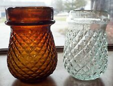 2 Old Victorian Candle Christmas Tree Fairy Lamps Diamond Pattern Amber & Clear