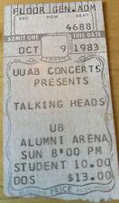 1983 Talking Heads Tom Tom Club Buffalo Ny Box Office Concert Ticket Stub 10/9