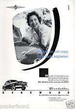 Borgward Isabella Reklame von 1954 Werbung ad Fahrerin     ßß