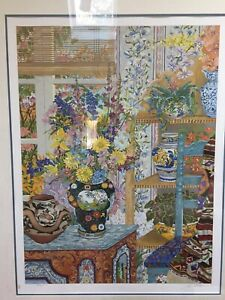 """John Powell """"The Painted Chest"""" Floral Art signed and Authenticated Serigraph"""