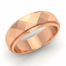 Men's Ring / Band With Hammered Finish In Solid 14k Rose Gold-6.5 mm band