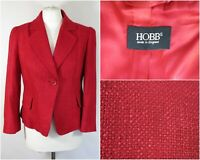 Hobbs Short Red Boucle Fitted Jacket UK Size 12 Smart Office Business 3/4 Sleeve