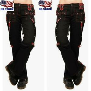 Womens Punk Gothic Trouser Wide Leg Hippie Casual Combat Pants Cargo Trousers US