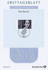 Germany 2015: Pina Bausch! first-day Sheet No. 3166 with the Bonn Special Stamp! 1607