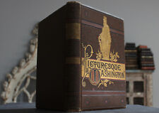 Antique Rare Old Book Picturesque Washington 1888 Illustrated Scarce Gilt 1st Ed