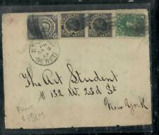NEWFOUNDLAND COVER (PP0207B) 1897 COVER FRONT 1/2CDOGX2+1C+3C ST JOHNS TO USA