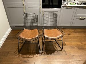 Two Wire Dining Chairs With  Leatherette Seats Pads