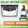 208 LED Solar Power Motion Sensor Wall Lights Outdoor Garden Lamp Waterproof