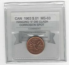 **1963 Hanging 3**Coin Mart Graded Canadian, Small One Cent, **MS-63**Cor. Spot