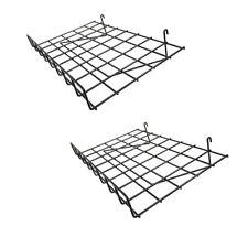 2 Pc Gloss Black 24 X 15 Wire Grid Shelf With Lip Shelves Gridwall Display