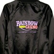 Rainbow Club Casino Satin Bomber Jacket Vintage 80s Henderson Nevada USA Size XL