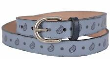New Gucci Men's 337125 Blue Leather Paisley Skinny Belt 40 100