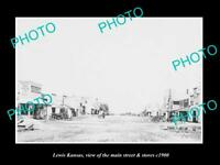 OLD 8x6 HISTORIC PHOTO OF LEWIS KANSAS THE MAIN STREET & STORES c1900