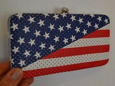 "Body Rage Kiss Lock American Flag Wallet 7.25"" by 4"" Bifold Clutch Style Purse"