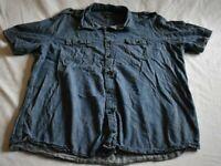 John Bartlett Consensus Men's XL Cotton Short Sleeve Button Up Jean Shirt