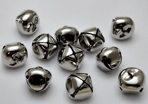PLATINUM SILVER Jingle BELLS ~ 25mm 1 inch ~ Bulk Metal Craft Holiday Christmas