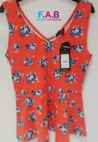 New Look V-Neck Tank Women Ladies Floral Summer Stretch Tops Size 12 UK RRP £9.9
