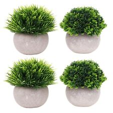 4 packs Small Artificial Plants Faked Mini Plants in Pot Topiary Shrubs for Home