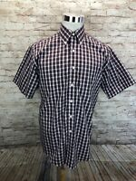 Brooks Brothers 346 Non Iron Multicolor Plaid Mens Button Down Short Sleeve - M