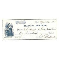 ANTIQUE 1861 ILION NY $100 BANK CHECK W/ MULTIPLE ENDORSEMENTS ! AA361DDC