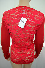 WOLFORD CLAIR PULLOVER Pompei rot red Large Lace Mix neu