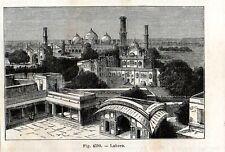 Stampa antica Veduta di LAHORE Pakistan 1889