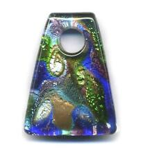 Huge Gold Silver Lampwork Fused DICHROIC Glass Pendant