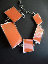 RETRO 60s 70s ORANGE & SILVER ENAMEL SQUARE PANEL CHAIN BRACELET new GIFT POUCH