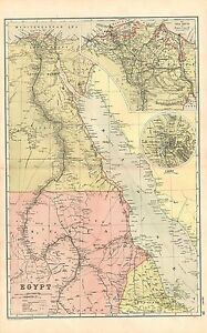 1911 VICTORIAN MAP ~ EGYPT  NUBIA NILE SUEZ CANAL ENVIRONS CAIRO