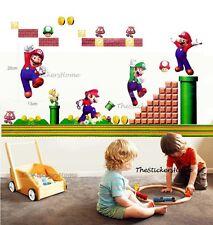 SUPER MARIO BROS Wall Stickers Children Kids Boys Game Playroom Bedroom Decor