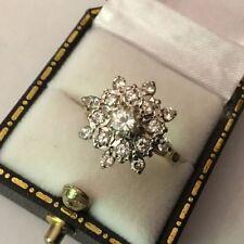 Hallmarked 18k 18ct ORO 0.75 Diamante Daisy Star Cluster Anello di fidanzamento Taglia M