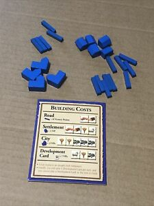 Settlers of Catan 3061 Replacement Pieces 4 Cities 5 Settlements 15 Roads Blue