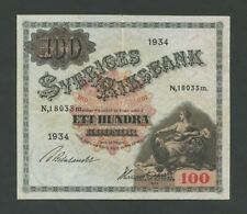 More details for sweden  100 kronor  1934  p36q  about very fine  banknotes
