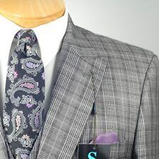 54L STEVE HARVEY 3 Piece Gray Plaid Suit - 54 Long - SB15