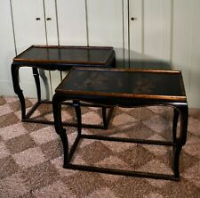A Pair of Chinoiserie Oriental Chinese Lacquered Bed Side Sofa Lamp Hall Tables