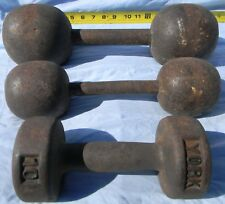 ANTIQUE VINTAGE GLOBE STRONGMAN IRON DUMBBELLS SET OF THREE CIRCA 1800'S