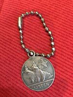 "Vintage 1930's Texaco ""Listen"" Scottie Dogs Medallion Keychain Fob Pendant"