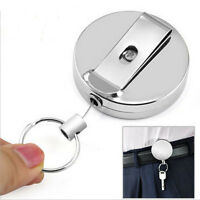 Retractable Pull Keychain Holder Full Metal Reel Recoil Key Ring Belt QA