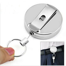 1pc Full Metal Keychain Stainless Steel Retractable Key Recoil Pull Chain F&F