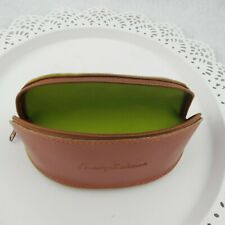Tommy Bahama Sunglass Soft Case Pebble Leather Banana Shape Lime Lined Zip close