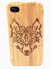 iPhone 5c Bamboo Wood Case ( Wolf Engraving ) 100% Genuine Solid Wood✔️
